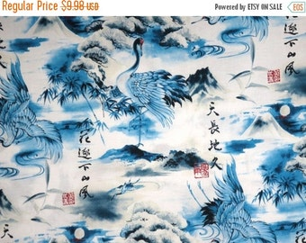 ON SALE Cobalt Blue and White Japanese Cranes Print Pure Cotton Fabric--One Yard