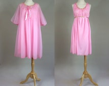 60s Pink Negligee / Sexy Babydoll / Vintage 1960s Negligee / 60s Pink Babydoll / Vintage Pink Teddy