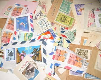 Vintage STAMPS Instant Collection Cancelled World Stamps- A to VietNam many countries colorful mini art for projects or collections DESTASH