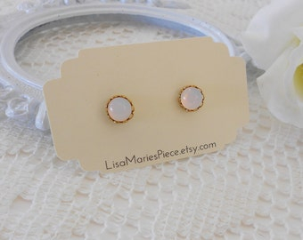 White Opal Earrings, Opalite Studs, Iridescent Earrings, Crystal Studs, Vintage Cabochon Studs, Estate Jewelry, Petite Studs, LAST PAIR