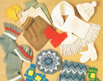 Vintage 70's KNIT/ CROCHET Accessories PATTERN Book by Patons No.215