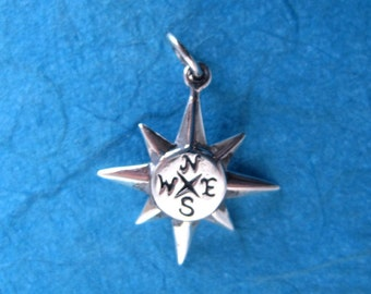 Sterling Silver Stamped Compass Charm