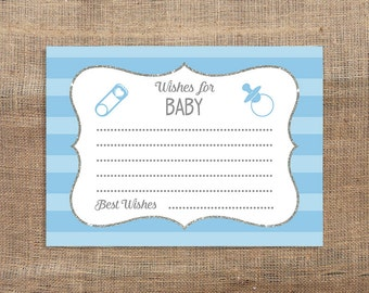 Blue Wishes For Baby Advice Cards, Baby Shower Activity, Blue Stripe Shower, Baby Boy, DIY Printable, INSTANT DOWNLOAD