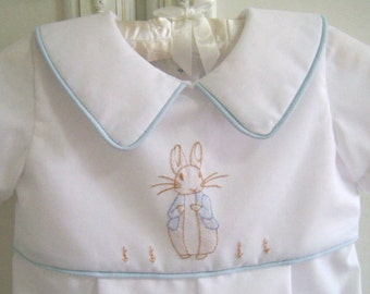 Peter Rabbit Baby Romper size 0 to 3 mo. Vintage Inspired, Shadow Embroidery, One Piece Baby Suit, Baby Boy Easter, Baptism, Portrait