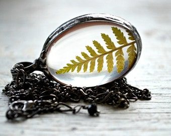 Real Fern Necklace, Terrarium Necklace, Summer Necklace, Real Fern Encased in Glass, Terrarium Fern Jewelry  (2486)
