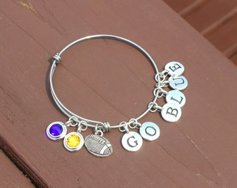 Bangle - Tailgating - Football - Team Colors - Swarovski crystals - Adjustable bangle - Team name up to 6 letters - Graduation 2017