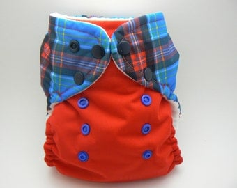 One Size Cloth Diaper - Blue Plaid with Red PUL and White Microfleece