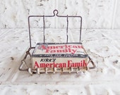 Antique Wire Soap Dish Holder . Toothbrush Holder . Wall Hanging Bathroom Display
