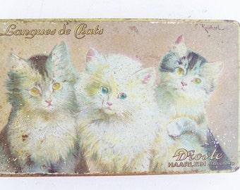 Vintage Droste Chocolate Candy Tin . Tin Lithographed Kitten Kitty Storage Box