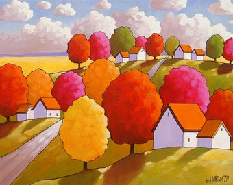 Fall Trees Color, Modern Folk Art Print 8x11 Wall Art, Scenic Country Road, Autumn Landscape Giclee, Home Decor Artwork by Cathy Horvath,