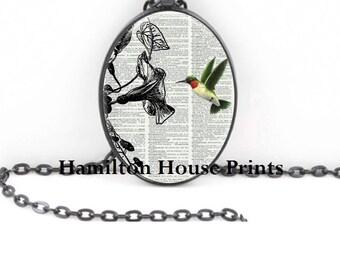 Humming Bird Jewelry Dictionary Art Print Pendant Dictionary Necklace Hamilton House Prints Orginal Jewelry Cardinal Jewelry