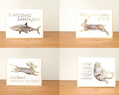 gold holiday cards set of all 8: christmas cards, shark, rabbit, daschund, mouse, penguin, moose, goat, fat cat