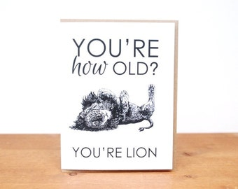 greeting card: you're lion, birthday, aging, lion cub jungle safari card
