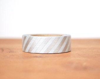 washi tape: silver and white stripes