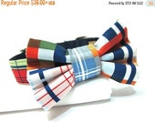 ON SALE Nautical Plaid Dog Collar and Bowtie with Metal Buckle