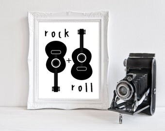 Black & White | Rock + Roll | Nursery Art | Wall Art | Subway Art | Nursery Decor | 5x7 | 8x10 | 11x14