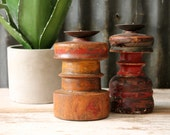 RESERVED for SAPNA  Set of 2 Candle Holders Reclaimed Antique Bedposts Farm Chic Boho Global Painted Red Yellow Indian Wood