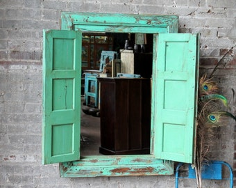 Shutter Mirror Reclaimed Vintage Cabinet Facade Acid Washed Large Mirror Boho Mirror Moroccan Decor Bright Turquoise Green Mirror Turkish