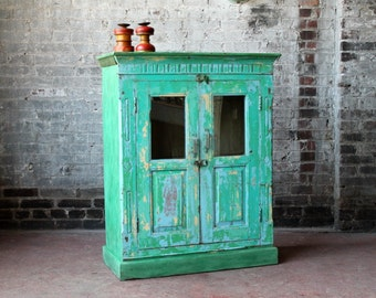 Bar Cabinet Salvaged Indian Furniture Kitchen Cabinet Curio Seafoam Green Lavender Boho Distressed Painted Antique Cabinet Import Furnitu