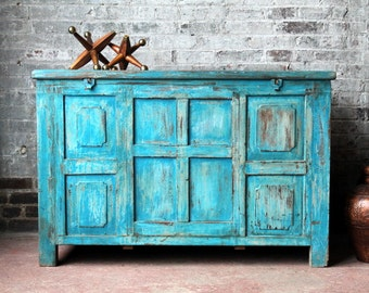 Antique Indian Trunk Sideboard Media Console TV Stand Buffet Bright Turquoise Blue Industrial Farm Chic Boho Indian Chest