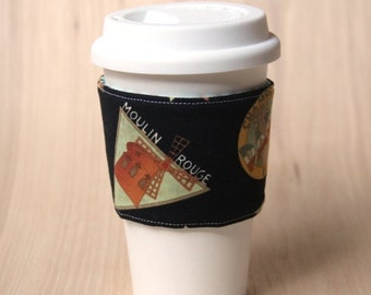 FINAL CLEARANCE Reversible Coffee Cup Sleeve - French Coffee Cozy - Ready to Ship