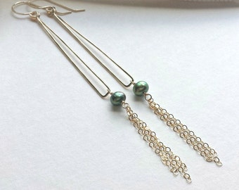 Pearl Fringe Earrings, Long Green Pearl Dangle, Gold Triangle Earrings, Gold Green Pearl Earrings, Geometric Dangle:  Ready to Ship