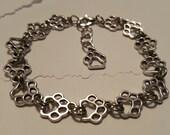 Paw Print Bracelet - Charm Bracelet - Paw Bracelet - Silver Paw Bracelet - Animal Bracelet - Cat Paw Bracelet - Dog Paw Bracelet