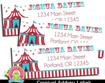 Carnival Return Address Labels / Carnival Party / Carnival Birthday / Carnival Party Favors / Circus Birthday / Circus Party