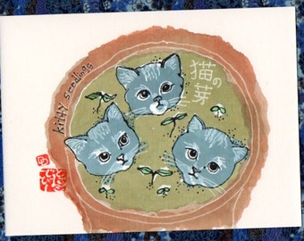 Planting Pussy Willows (Etegami Original, Cat Art)