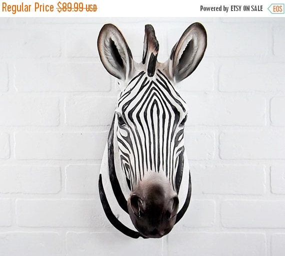 Zebra Head Wall Decor : On sale your choice color zebra head wall bust by