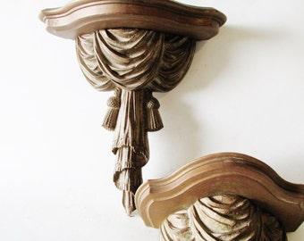 Vintage Syroco Wood Gilded Tassel and Swag Shelves, Wall Shelf, Hollywood Regency