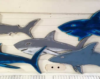 Wall of Sharks Signs Set of 5 Beach House Wall Art Decor Coastal Nautical by CastawaysHall