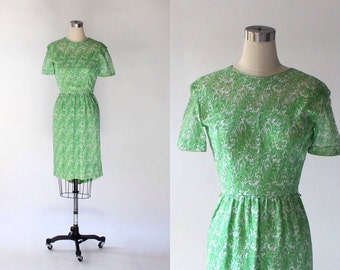 1960s Floral Lace Dress // 60s Vintage Green & White Short Sleeve Dress // Small