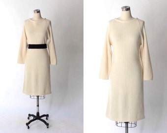 1970s Chloe Mohair Sweater Dress // 70s Vintage Off White Long Sleeve Sweater Dress  // Medium
