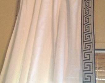 Greek Key Ivory Curtain With Grey And Ivory Greek Key Trim