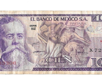 100 Cien Pesos, Paper Money, 1974 BZ Serie, El Banco De Mexico Bank Note Bill, Mexican Currency, 1 piece