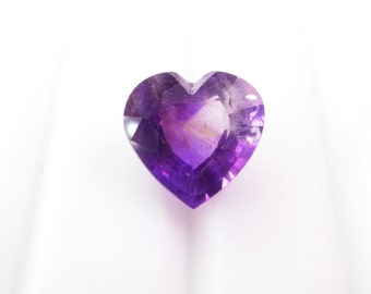 Natural Amethyst. Heart Shaped Gemstone. Slight Color Zoning. 1 pc. 2.28 cts. 9x9 mm (AM1423)