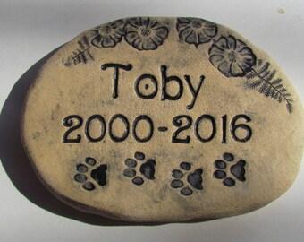"Personalized Pet memorial stone, Custom Pet Grave Marker. Name, Dates, Flowers. Cat Paw prints / Dog Paw prints. 6"" x 8"". Heavy duty brick"