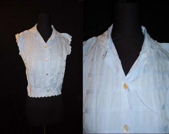 Blue Capsleeved ROCKABILLY Vintage 1950's Women's Summer Shirt Top XS S