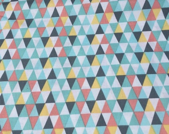 Baby Crib Sheet, Gender Neutral Print, Colorful Triangle Crib Sheet, Geometric Bedding, Mint, Coral, Gray, Yellow