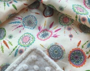 Boho Baby Blanket, Dream Catcher Blanket, Baby Girl Bedding, Minky Blanket Girl, Bohemian Baby Blanket, Personalized Blanket