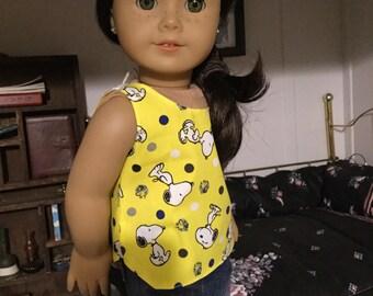 Snoopy tank top fits American Girl dolls