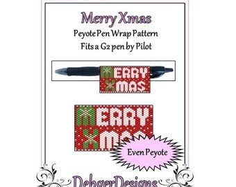 Bead Pattern Peyote(Pen Wrap/Cover)-Merry Xmas