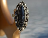 Vintage BLACK MASK Obsidian Stone Ring in Decorative Sterling Silver Setting - Stunning