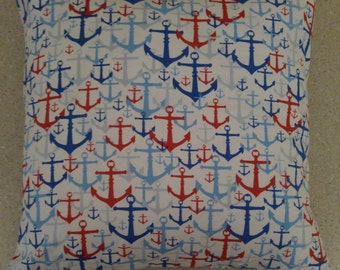 1 white red blue anchor beach sailor pillow cover sham Nautical cushions 18x18 americana