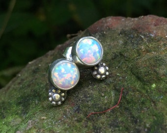 Opal and sterling silver stud earrings handmade in my south Mississippi studio