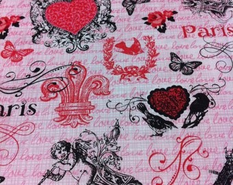 Paris is for Lovers Cotton Fabric/Sewing Craft Supplies /Suiting Fabric / Eiffel Tower Print/Paris Scenes/Valentines Day/Seasonal Print