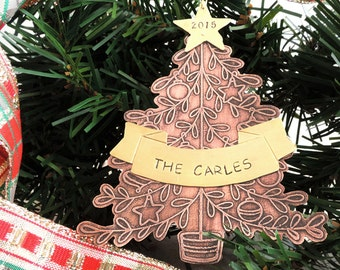 Personalized Christmas Ornament - 2017 Dated Tree Ornament - Family Gift - Etched Copper Christmas Tree