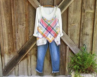 linen tunic jumper pinafore smock vintage embroidered linens ready to ship one of a kind