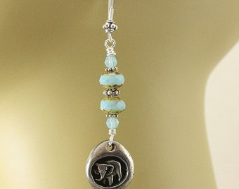 Silver and Turquoise Elephant Earrings Bohemian Elephant Jewelry Happy Memories